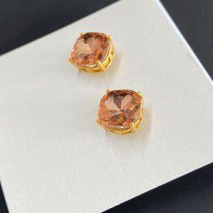 Tory Burch Simple Square Crystal Stud Earrings
